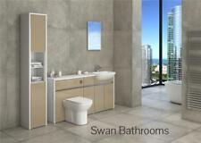 WHITE / CAPPUCCINO GLOSS BATHROOM FITTED FURNITURE WITH TALL UNIT 2000MM