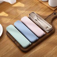 3Pcs Creative Reusable Tableware Spoon Fork Chopsticks Travel Picnic Cutlery Lit