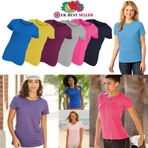 Ladies Plain T-Shirts Womens Fruit of the Loom Coloured Cotton Fitted Tee Shirt