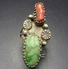 OLD PAWN Vintage NAVAJO Sterling Silver CORAL and DAMELE TURQUOISE RING size 7