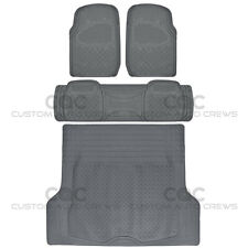 Gray Rubber Floor Mats for Car SUV w/ Cargo Mat 5 Piece Full Set Max Duty