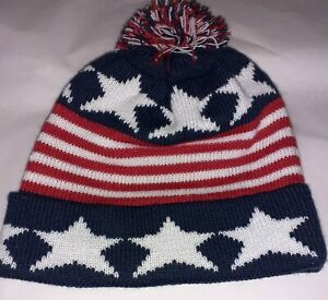 PRIMARK STARS & STRIPES USA FLAG BEANIE HAT WARM WORK WINTER KNITTED WOOLY-BNWT