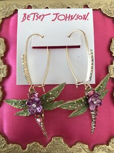 Betsey Johnson Opulent Floral Pink Crystal Green Leaf Dragonfly Flower Earrings