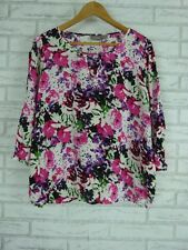 SUSSAN Top/Blouse Sz 14 Pink, White, Black, Green Floral Print