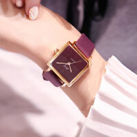 Elegant  Analog Quartz Square Watch Wristwatch Leather Band Formal Wrist Acces