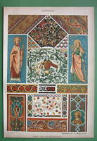 CEILING & WALL Paintings in Middle Ages - COLOR Litho Antique Print