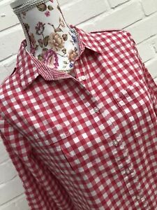 Gap Blouse Shirt Medium Pink White Check Gingham Pure Cotton Top
