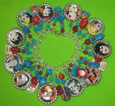 """ANDY WARHOL-70's PORTRAITS""  ALTERED ART LOADED CHUNKY CHARM BRACELET"