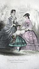GRAVURE MODE ANCIENNE 19e - JOURNAL DES DEMOISELLES 1861