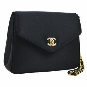 CHANEL CC Logos Chain Clutch Bag Pouch Black Satin Vintage Authentic AK31833k