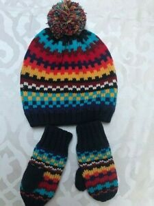 New Gap multi midnight holiday toddler baby kids hat + mittens set size S/M 2-3Y