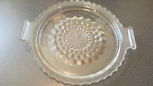 """Serving Plate Antique Cut Glass Clear w/Handles Textured on Bottom 7-1/4"""""""