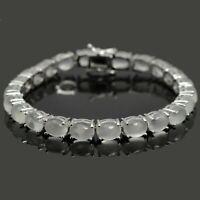 8x6 mm Unheated Oval Cut Moonstone Gemstone Sterling 925 Silver Tennis Bracelet