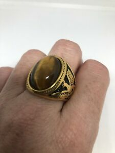 Vintage Golden Stainless Steel Genuine Tiger's Eye Size 11 Men's Dragon Ring