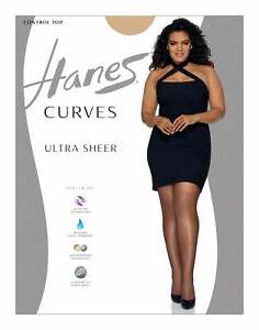 Hanes Curves Ultra Sheer Control Top Legwear Glide On Wicking Cool Comfort Panty