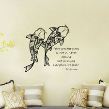 Koi Fish Quote Confucius Words Wall Decal Home Art Decor Room Lettering Sticker