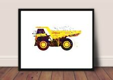 digger nursery picture a4 gloss Print gift UNFRAMED construction 1