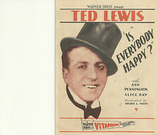 IS EVERYBODY HAPPY?(1929)TED LEWIS ORIINAL PRESSBOOK HERALD+
