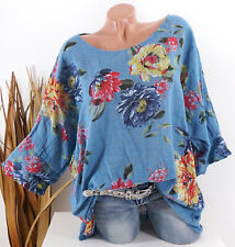 42 44 46 48 blau Tunika Oversize Bluse Shirt Leinen Look Damen Italy Lagenlook