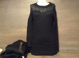 Lumiere Women's OPEN KNIT BLACK SWEATER LONG SLEEVES SIZE S, M, L NEW NWT