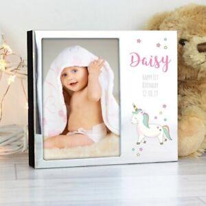 """Personalised Baby Unicorn Photo Album 4"""" x 6"""" - Baby / Birth Christening Gift"""