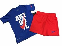 Little Boys USA Red White Blue Nike Just Do It Swoosh 2 Piece Shirt & Shorts Set