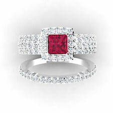 14KT White Gold Certified 3.88Ct Red Princess Cut Diamond Engagement Ring Set