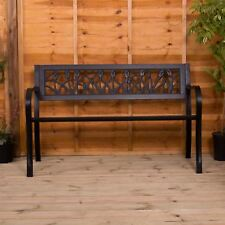 Steel Garden Bench 3 Seater Outdoor Patio Porch Chair Seat Furniture Tulip