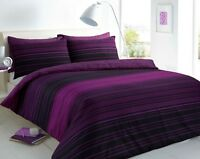 Luxury Stripe Purple  Duvet Cover Sets with Pillow Case Single Double King Size
