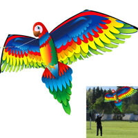 100M Line 3D Parrot Kite Toy Fun Outdoor Flying Activity Game Children + Tail