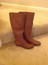 New FERGALICIOUS BY FERGIE Women's Tan Leather Knee High Boots Size 5.5M