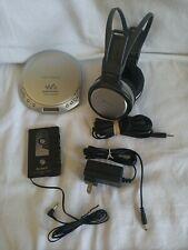 SONY CD WALKMAN SILVER D-E226CK ESP MAX W/ SONY MDR-XD100 HEADPHONES & EXTRAS