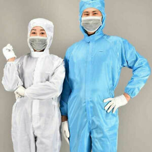 Blue White Coverall Overalls Hooded Workwear Isolation Suit  Protective Clothing