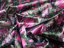 "PINK BRIDAL SATIN CAMO FABRIC TRUE TIMBER 58"" HUNTING CAMOUFLAGE MC2 LADIES PINK"