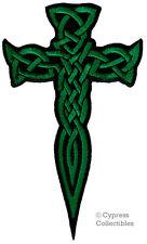 IRISH HERITAGE BIKER PATCH CELTIC DAGGER CROSS iron-on embroidered KNIFE GREEN