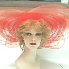 Red Sheer Hat One Size Large Brim 100% Polyester