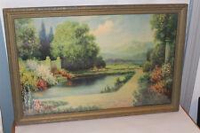Antique PRINT ~ ART DECO Cottage Garden H LEWIS Keystone Picture Frame Co 1920's