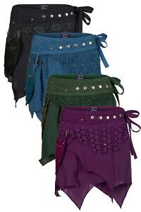 Steampunk wrap mini skirt ragged pixie skirt up to Plus size