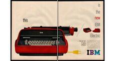 1959 IBM Electric Typewriter - Red - 2 Page - Portable - Retro VINTAGE AD