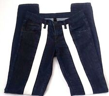 Nobody Denim Dark Blue White Stripe Panelled Mod Tube Jeans Sample Size 26