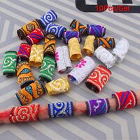 10Pcs Colorful Fabric Hair Braid Dreadlock Beads Rings Tube Jewelry Accessor Fy