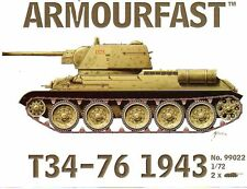 NEW Armourfast 1/72 T34/76 1943 Tank Model Kit - Contains 2 Tanks - 99022