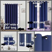 Insulated Thermal Opaque Velvet Blackout with Silver Grommet Window Curtain K68