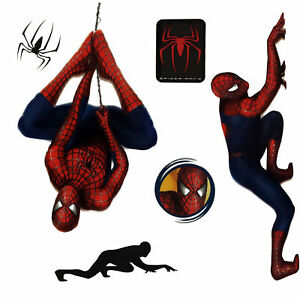 Spiderman Wall Decal Spiderman and Space Above Crib Decor C2201 Superhero Vinyl Sticker Murals Comics Wall Sticker Hole in the Decal