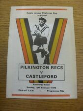 12/02/1978 Rugby League Programme: Pilkington Recs v Castleford [Challenge Cup]