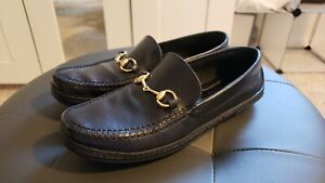 Gucci Womans Black Leather Horsebit Loafers Size 7 B