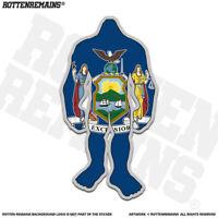 New York State Flag Bigfoot Decal Sticker NY Sasquatch Big Foot Skunk Ape apr