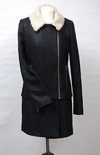 P1091/41 Warehouse Women's Black Moto Coat with Wool, UK 12