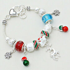 Reindeer Bracelet Snowflake Sliding Beads SILVER Christmas Bells Holiday Jewelry