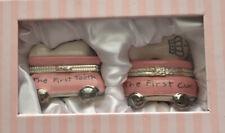 Mud Pie Baby Girl Keepsake Box Princess Pink First Tooth First Curl Ceramic